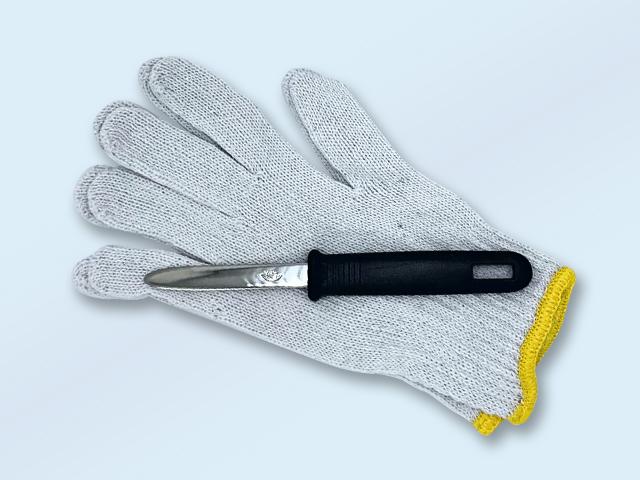 牡蠣ナイフ、手袋、調理説明書付き。